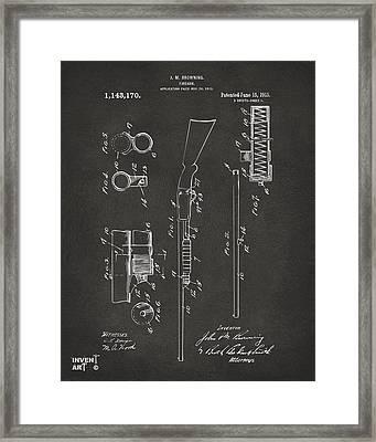 1915 Ithaca Shotgun Patent Gray Framed Print by Nikki Marie Smith
