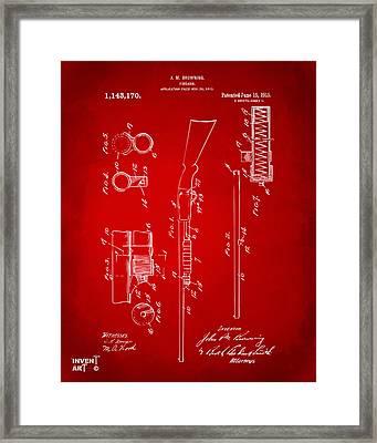 1915 Ithaca Shotgun Patent Red Framed Print by Nikki Marie Smith