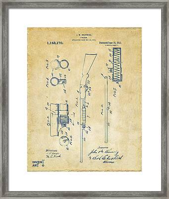 1915 Ithaca Shotgun Patent Vintage Framed Print by Nikki Marie Smith
