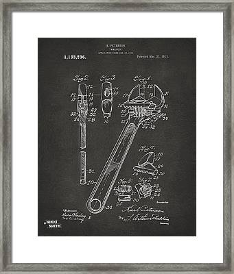 1915 Wrench Patent Artwork - Gray Framed Print by Nikki Marie Smith
