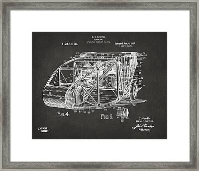 1917 Glenn Curtiss Aeroplane Patent Artwork 3 - Gray Framed Print by Nikki Marie Smith