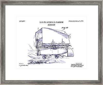1919 Airship Patent Drawing Blueprint Framed Print by Jon Neidert