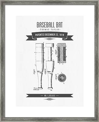 1919 Baseball Bat Patent Drawing Framed Print by Aged Pixel