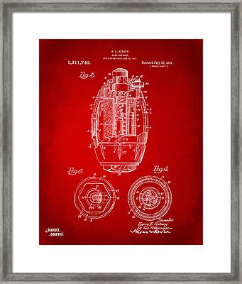1919 Hand Grenade Patent Artwork - Red Framed Print by Nikki Marie Smith