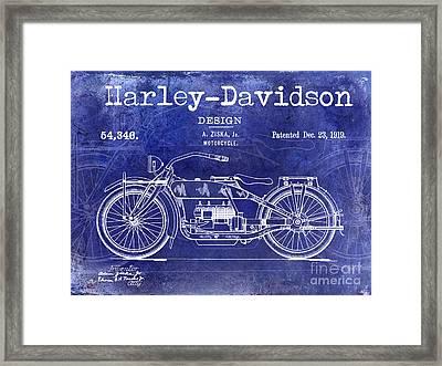 1919 Harley Davidson Patent Drawing Blue Framed Print by Jon Neidert