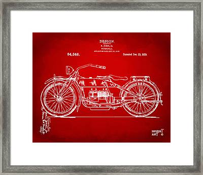 1919 Motorcycle Patent Red Framed Print by Nikki Marie Smith