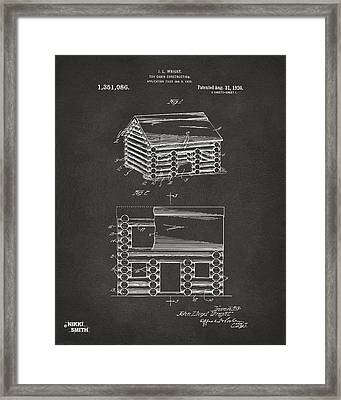 1920 Lincoln Logs Patent Artwork - Gray Framed Print by Nikki Marie Smith