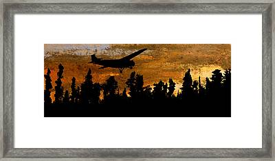 1920's Ford Trimotor Airplane Skims Treetops Framed Print by R Kyllo