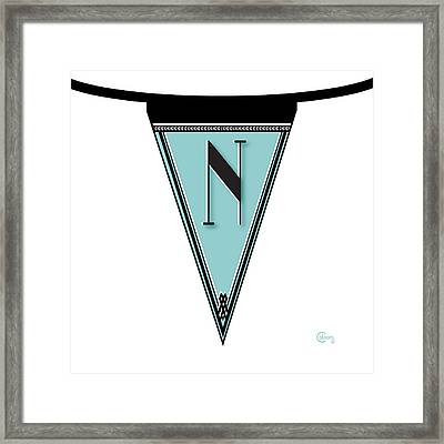 Pennant Deco Blues Banner Initial Letter N Framed Print by Cecely Bloom
