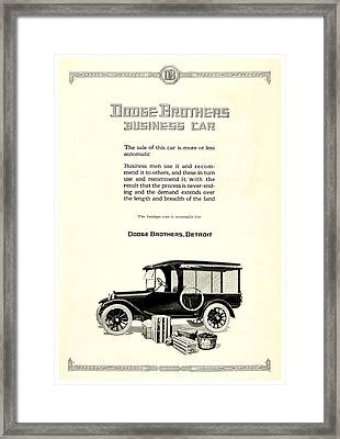 1921 - Dodge Brothers Business Car Truck Advertisement Framed Print by John Madison
