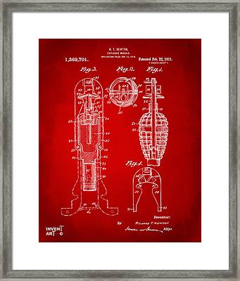 1921 Explosive Missle Patent Red Framed Print by Nikki Marie Smith