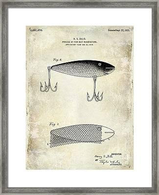 1921 Fish Bait Patent Drawing Framed Print by Jon Neidert