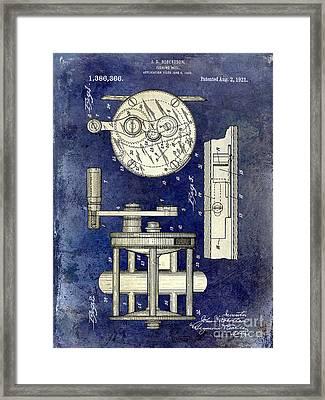 1921 Fishing Reel Patent Drawing 2 Tone Blue Framed Print by Jon Neidert