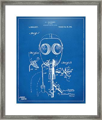 1921 Gas Mask Patent Artwork - Blueprint Framed Print by Nikki Marie Smith