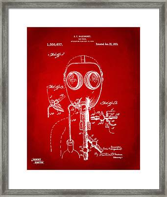 1921 Gas Mask Patent Artwork - Red Framed Print by Nikki Marie Smith
