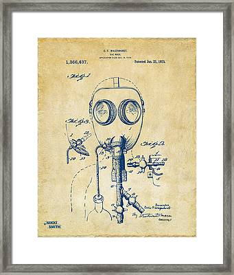 1921 Gas Mask Patent Artwork - Vintage Framed Print by Nikki Marie Smith