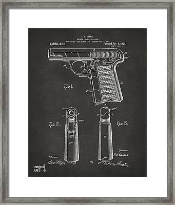 1921 Searle Pistol Patent Artwork - Gray Framed Print by Nikki Marie Smith