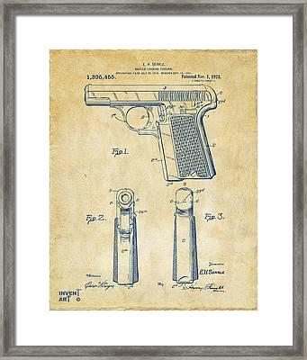 1921 Searle Pistol Patent Artwork - Vintage Framed Print by Nikki Marie Smith