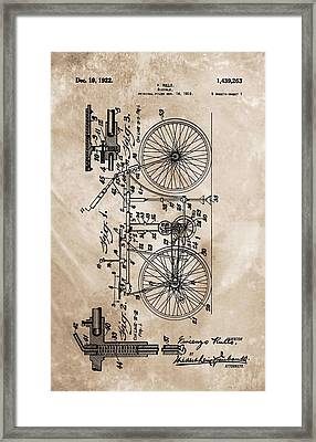 1922 Bicycle Patent Framed Print by Dan Sproul