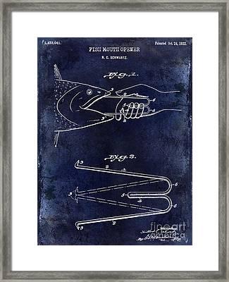 1922 Fish Mouth Opener Patent Drawing Blue Framed Print by Jon Neidert