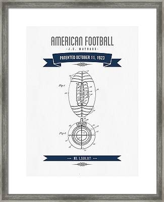 1923 American Football Patent Drawing - Retro Navy Blue Framed Print by Aged Pixel