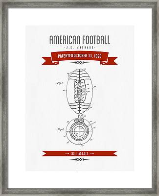 1923 American Football Patent Drawing - Retro Red Framed Print by Aged Pixel