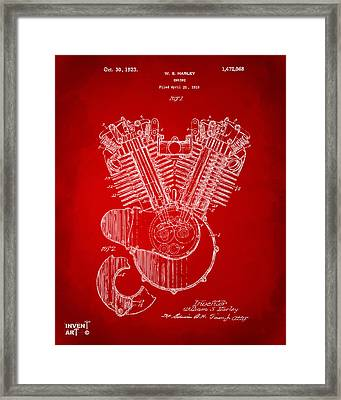 1923 Harley Engine Patent Art Red Framed Print by Nikki Marie Smith