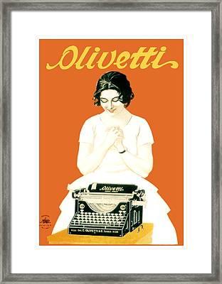 1924 - Olivetti Typewriter Advertisement Poster - Color Framed Print by John Madison