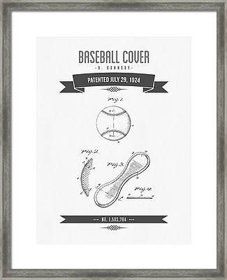 1924 Baseball Cover Patent Drawing Framed Print by Aged Pixel