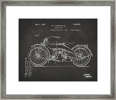 1924 Harley Motorcycle Patent Artwork - Gray Framed Print by Nikki Marie Smith
