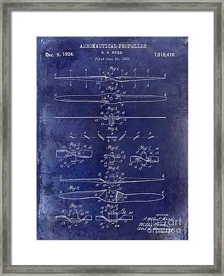 1924 Propeller Patent Drawing Blue Framed Print by Jon Neidert