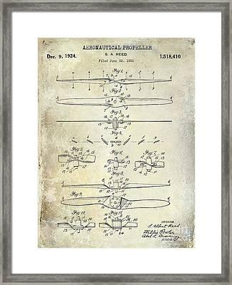 1924 Propeller Patent Drawing Framed Print by Jon Neidert