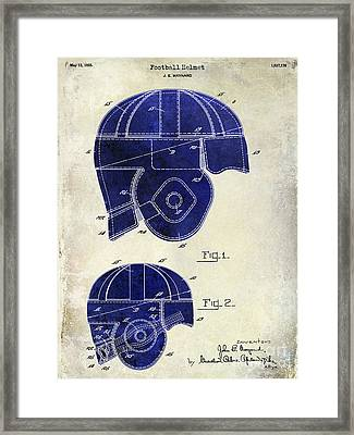 1925 Football Helmet Patent Drawing 2 Tone Framed Print by Jon Neidert