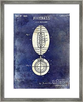 1925 Football Patent Drawing 2 Tone Blue Framed Print by Jon Neidert