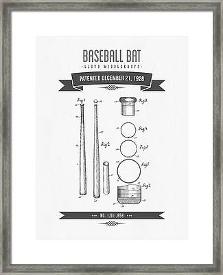 1926 Baseball Bat Patent Drawing Framed Print by Aged Pixel