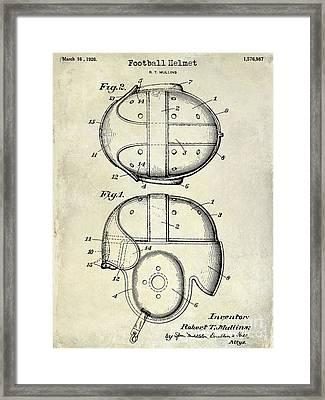 1926 Football Helmet Patent Drawing Framed Print by Jon Neidert