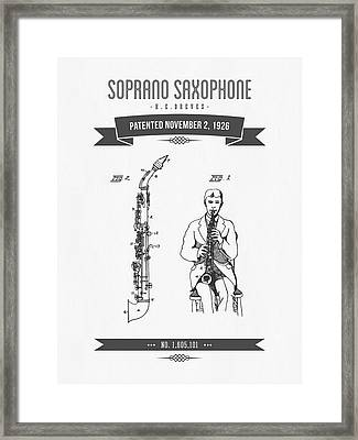 1926 Soprano Saxophone Patent Drawing Framed Print by Aged Pixel