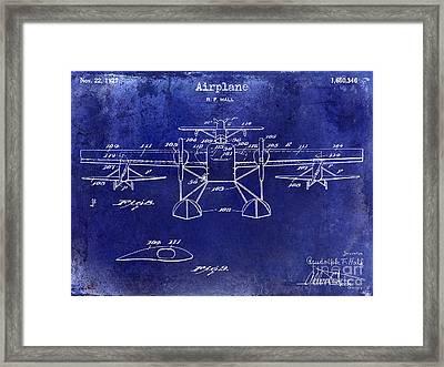 1927 Airplane Patent Drawing Blue Framed Print by Jon Neidert