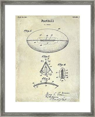 1927 Football Patent Drawing Framed Print by Jon Neidert