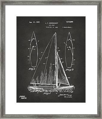 1927 Sailboat Patent Artwork - Blueprint Framed Print by Nikki Marie Smith