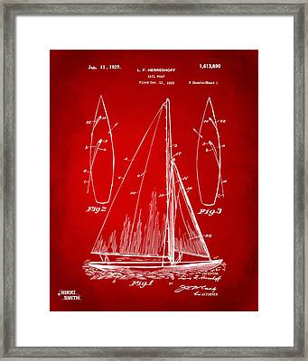 1927 Sailboat Patent Artwork - Red Framed Print by Nikki Marie Smith