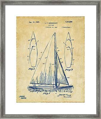 1927 Sailboat Patent Artwork - Vintage Framed Print by Nikki Marie Smith