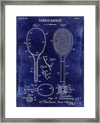 1927 Tennis Racket Patent Drawing Blue Framed Print by Jon Neidert