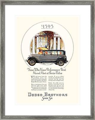 1928 - Dodge Brothers Automobile Advertisement - Color Framed Print by John Madison