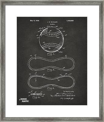 1928 Baseball Patent Artwork - Gray Framed Print by Nikki Marie Smith