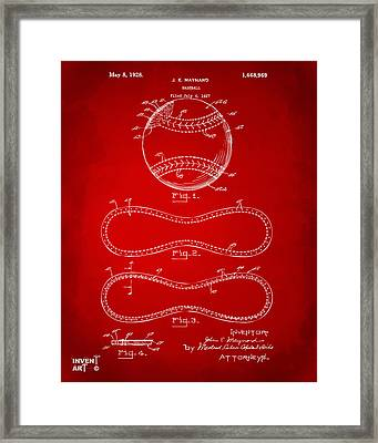 1928 Baseball Patent Artwork Red Framed Print by Nikki Marie Smith