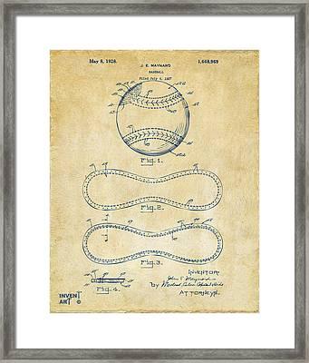 1928 Baseball Patent Artwork Vintage Framed Print by Nikki Marie Smith