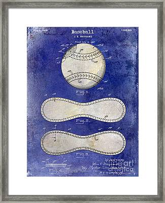1928 Baseball Patent Drawing 2 Tone Blue Framed Print by Jon Neidert