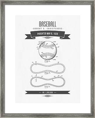 1928 Baseball Patent Drawing Framed Print by Aged Pixel