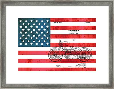 1928 Harley Patent American Flag Framed Print by Dan Sproul